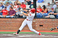 Johnson City Cardinals Chandler Redmond (25) swings at a pitch during a game against the Kingsport Mets at TVA Credit Union Ballpark on June 28, 2019 in Johnson City, Tennessee. The Cardinals defeated the Mets 7-4. (Tony Farlow/Four Seam Images)