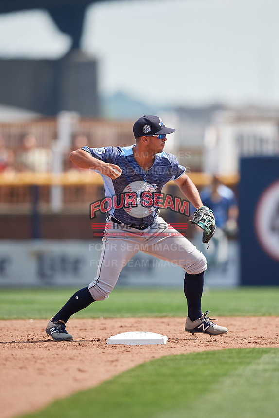 West Michigan Whitecaps shortstop Anthony Pereira (8) throws to first base during a game against the Quad Cities River Bandits on July 23, 2018 at Modern Woodmen Park in Davenport, Iowa.  Quad Cities defeated West Michigan 7-4.  (Mike Janes/Four Seam Images)