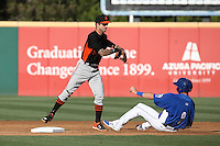 Jeff Kobernus (10) of the San Jose Giants makes a throw to first base while avoiding a sliding Nate Samson (8) of the Rancho Cucamonga Quakes during a game at LoanMart Field on August 30, 2015 in Rancho Cucamonga, California. Rancho Cucamonga defeated San Jose, 8-3. (Larry Goren/Four Seam Images)