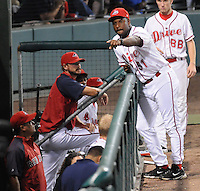 Manager Billy McMillon (51) of the Greenville Drive gets a replacement from the dugout after player ejections in Game 2 of the South Atlantic League Championship Series against the Lakewood BlueClaws on Sept. 14, 2010, at Fluor Field at the West End in Greenville, S.C. Photo by: Tom Priddy/Four Seam Images