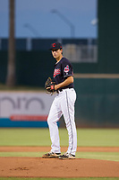 AZL Indians starting pitcher Dante Mendoza (62) prepares to deliver a pitch to the plate against the AZL Padres on August 30, 2017 at Goodyear Ball Park in Goodyear, Arizona. AZL Padres defeated the AZL Indians 7-6. (Zachary Lucy/Four Seam Images)