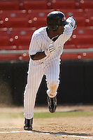 Hickory center fielder Andrew McCutchen (1) hustles down the first base line in game action versus Asheville at L.P. Frans Stadium in Hickory, NC, Sunday, May 21, 2006.  Hickory defeated Asheville 5-4.