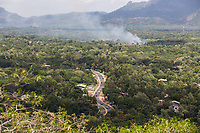 Tress burning in a forest in Sri Lanka. Habitat fragmentation caused by small scale farming and logging is one of the biggest threats to the Sri Lankan elephant's survival and is increasing the occurrence of human-elephant conflict in the country.