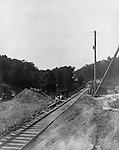 Hopedale OH: Construction of a tunnel under the Alliance and Wheeling Railroad Crossing.  The Pittsburgh, Toledo, and Western Railroad Company, owned by the famous George J. Gould,  hired Brady Stewart to document the track and tunnel construction between Hopedale Ohio, and downtown Pittsburgh.