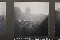 BNPS.co.uk (01202 558833)<br /> Pic: C&TAuctions/BNPS<br /> <br /> Pictured: Troops packed together in the trenches. <br /> <br /> Fascinating previously unseen World War One photos showing the conflict from the German perspective have come to light 103 years on.<br /> <br /> Major Hans Rudloff, a distinguished artillery officer, took hundreds of images of some of the major Western Front battles.<br /> <br /> There are scenes of destruction on the Verdun and at Cambrai, as well as snapshots of captured British soldiers on the Somme in the early days of the German Spring Offensive in March 1918.