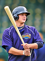 21 August 2010: Brooklyn Cyclones outfielder Darrell Ceciliani awaits his turn in the batting cage prior to a game against the Vermont Lake Monsters at Centennial Field in Burlington, Vermont. The Cyclones defeated the Lake Monsters 8-7 in a 12-inning game that had to be resumed in Brooklyn on August 31 due to late inning rain. Mandatory Credit: Ed Wolfstein Photo