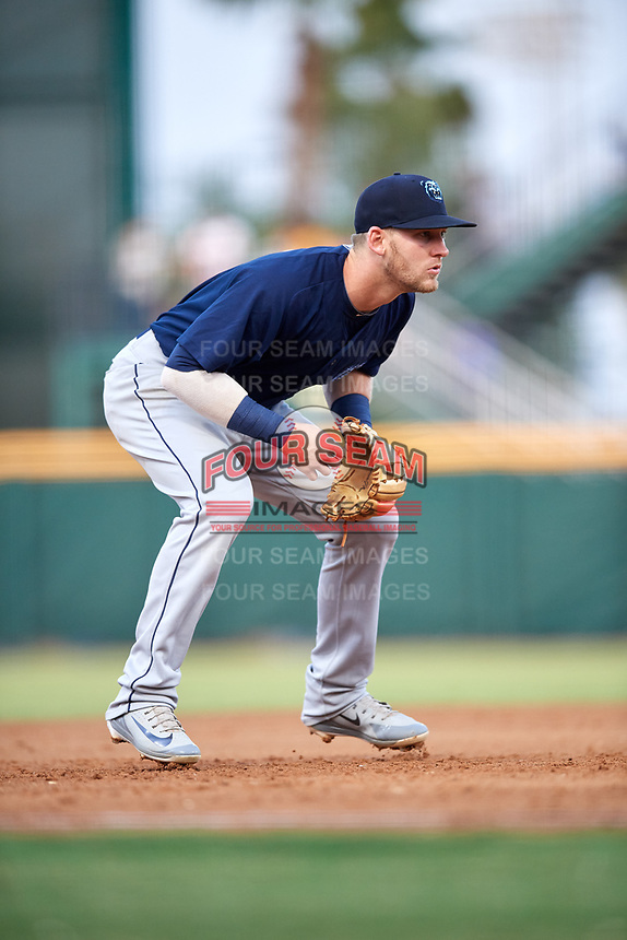 Mobile BayBears third baseman Taylor Ward (7) during a game against the Jacksonville Jumbo Shrimp on April 14, 2018 at Baseball Grounds of Jacksonville in Jacksonville, Florida.  Mobile defeated Jacksonville 13-3.  (Mike Janes/Four Seam Images)