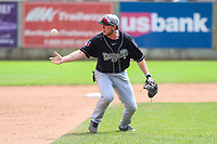 Lansing Lugnuts third baseman Brandon Grudzielanek (21) juggles a ground ball during a Midwest League game against the Clinton LumberKings on July 15, 2018 at Ashford University Field in Clinton, Iowa. Clinton defeated Lansing 6-2. (Brad Krause/Four Seam Images)