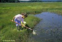 AC35-001z  Girl collecting specimens at salt marsh