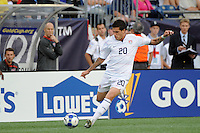 United States (USA) head coach Bob Bradley watches Santino Quaranta (20). The United States and Haiti played to a 2-2 tie during a CONCACAF Gold Cup Group B group stage match at Gillette Stadium in Foxborough, MA, on July 11, 2009. .