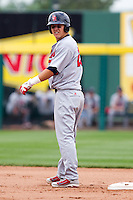 Mike Trout (23) of the Arkansas Travelers stands on second base after hitting a double during a game against the Springfield Cardinals on May 10, 2011 at Hammons Field in Springfield, Missouri.  Photo By David Welker/Four Seam Images.