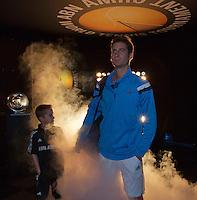 10-02-14, Netherlands,Rotterdam,Ahoy, ABNAMROWTT,Florian Mayer(GER) walk on<br /> Photo:Tennisimages/Henk Koster