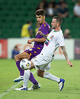 27th March 2021; HBF Park, Perth, Western Australia, Australia; A League Football, Perth Glory versus Newcastle Jets; Jonathan Aspropotamitis of the Perth Glory and Roy O'Donovan of the Newcastle Jets compete for the ball