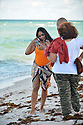 MIAMI BEACH, FL - JULY 16: Garcelle Beauvais, Robear Landeros and Tazz is seen at the beach on July 16, 2021 in Miami Beach, Florida. (Photo by Vallery Jean / jlnphotography.com )