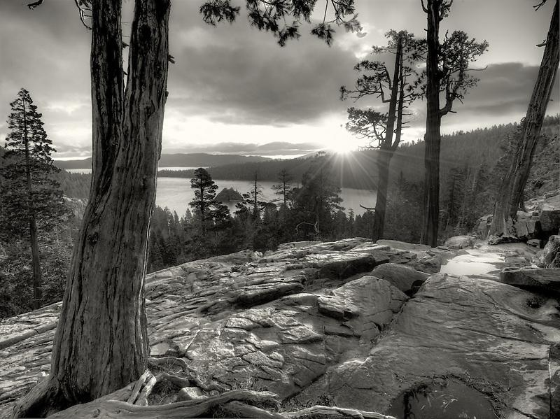 Sunrise over Emerald Bay with Eagle Creek and Fannette Island, Lake Tahoe, California.