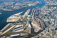 Hafencity und Speicherstadt historisch aus 2005: EUROPA, DEUTSCHLAND, HAMBURG, (EUROPE, GERMANY), 19.06.2005: Hafencity und Speicherstadt historisch aus 2005