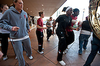 NORFOLK, VA--Joslyn Tinkle, Toni Kokenis and Nneka Ogwumike dance to the entertainment during a pregame sendoff at the Sheraton Hotel before taking on West Virginia at the Ted Constant Convocation Center at Old Dominion University for the second round of the 2012 NCAA Championships.