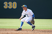 Nick Valaika (4) of the UCLA Bruins in the field during a game against the California Bears at Jackie Robinson Stadium on March 25, 2017 in Los Angeles, California. UCLA defeated California, 9-4. (Larry Goren/Four Seam Images)