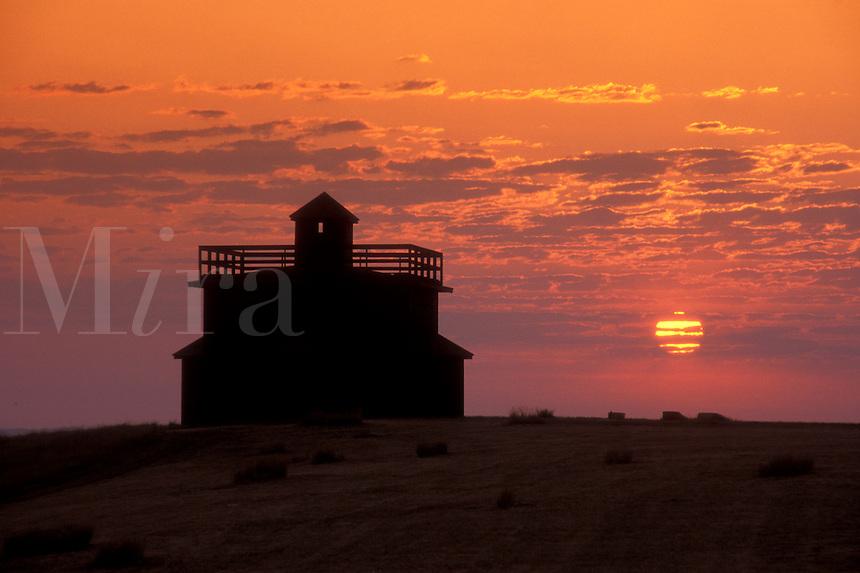 AJ0451, North Dakota, Infantry Post Blockhouse at [sunrise, sunset] at Fort Abraham Lincoln State Park in Mandan.