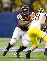Nick Becton of Virginia Tech in action during Sugar Bowl game against Michigan at Mercedes-Benz SuperDome in New Orleans, Louisiana on January 3rd, 2012.  Michigan defeated Virginia Tech, 23-20 in first overtime.