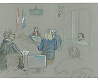 Montreal - CANADA - File images -  An artist's sketch shows Luka Rocco Magnotta, at his trial for the murder of Jin Li. It is one of the most grisly and sensational murder trials in Canadian history<br /> <br /> Image :  Agence Quebec Presse  - Atalante