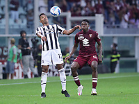 TORINO ITALY- October 2 <br /> Stadio Olimpico Grande Torino<br /> Alex Sandro Wilfred Singo<br /> during the Serie A match between Fc  Torino and Juventus Fc at Stadio Olimpico on October 2, 2021 in Torino, Italy.