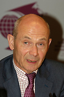 Pascal Lamy, Director General of the World Trade Organization,<br /> adress the medias  at the  12th International Economic Forum of the Americas<br />                            Conference of Montreal<br /> Photo by Michel Karpoff / Images Distribution