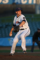 Craig Schlitter (21) of the Lancaster JetHawks pitches against the San Jose Giants at The Hanger on April 10, 2017 in Lancaster, California. Lancaster defeated San Jose 11-7. (Larry Goren/Four Seam Images)