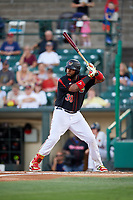 Rochester Red Wings designated hitter Kennys Vargas (30) at bat during a game against the Lehigh Valley IronPigs on September 1, 2018 at Frontier Field in Rochester, New York.  Lehigh Valley defeated Rochester 2-1.  (Mike Janes/Four Seam Images)