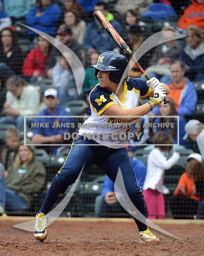 Michigan Wolverines catcher Lauren Sweet (25) at bat during the season opener against the Florida Gators on February 8, 2014 at the USF Softball Stadium in Tampa, Florida.  Florida defeated Michigan 9-4 in extra innings.  (Copyright Mike Janes Photography)