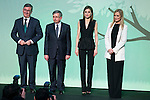 "President of the SM Group, Luis Fernando Crespo, Queen Letizia of Spain and President of Madrid Community, Cristina Cifuentes during the delivery of SM Awards of children's literature ""El Barco de Vapor"" and ""Gran Angular"" at Real Casa de Correos in Madrid. April 19,2016. (ALTERPHOTOS/Borja B.Hojas)"