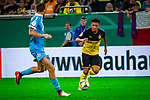 09.08.2019, Merkur Spiel-Arena, Düsseldorf, GER, DFB Pokal, 1. Hauptrunde, KFC Uerdingen vs Borussia Dortmund , DFB REGULATIONS PROHIBIT ANY USE OF PHOTOGRAPHS AS IMAGE SEQUENCES AND/OR QUASI-VIDEO<br /> <br /> im Bild | picture shows:<br /> Jadon Sancho (Borussia Dortmund #7) am Ball, <br /> <br /> Foto © nordphoto / Rauch