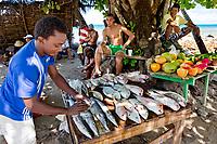 Seychelles, Mahé island, Tropics, Indian ocean, Man selling Fish on Beau Vallon Beach, Baie Beau Vallon