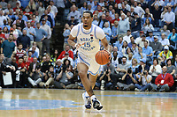 CHAPEL HILL, NC - FEBRUARY 25: Garrison Brooks #15 of the University of North Carolina brings the ball up the court during a game between NC State and North Carolina at Dean E. Smith Center on February 25, 2020 in Chapel Hill, North Carolina.