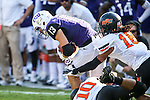 TCU Horned Frogs wide receiver Ty Slanina (13) and Oklahoma State Cowboys cornerback Ramon Richards (18) in action during the game between the OSU Cowboys and the TCU Horned Frogs at the Amon G. Carter Stadium in Fort Worth, Texas. TCU defeated OSU 42 to 9.