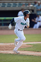 Cody Farhat (47) of the Lynchburg Hillcats hustles down the first base line against the Myrtle Beach Pelicans at Bank of the James Stadium on May 23, 2021 in Lynchburg, Virginia. (Brian Westerholt/Four Seam Images)