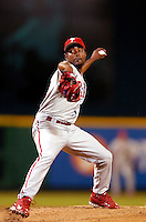 3 September 2005: Eude Brito, pitcher for the Philadelphia Phillies, on the mound against the Washington Nationals. The Nationals defeated the Phillies 5-4 at RFK Stadium in Washington, DC. <br />