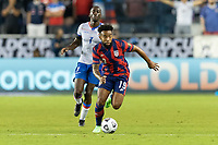 KANSAS CITY, KS - JULY 11: Eryk Williamson #19 of the United States moves with the ball during a game between Haiti and USMNT at Children's Mercy Park on July 11, 2021 in Kansas City, Kansas.