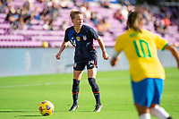 ORLANDO CITY, FL - FEBRUARY 21: Emily Sonnett #14 of the USWNT getting ready to kick the ball during a game between Brazil and USWNT at Exploria Stadium on February 21, 2021 in Orlando City, Florida.