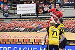 Ludwigshafens Azat Valiullin (Nr.55) gegen Coburgs Schröder / Schroeder, Andreas und rechts Coburgs Zetterman, Pontus  beim Spiel in der Handball Bundesliga, Die Eulen Ludwigshafen - HSC 2000 Coburg.<br /> <br /> Foto © PIX-Sportfotos *** Foto ist honorarpflichtig! *** Auf Anfrage in hoeherer Qualitaet/Aufloesung. Belegexemplar erbeten. Veroeffentlichung ausschliesslich fuer journalistisch-publizistische Zwecke. For editorial use only.