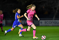 Estelle Dessilly (13 Charleroi) pictured in a duel with Jasmien Mathys (12 Gent) during a female soccer game between  AA Gent Ladies and Sporting Charleroi Feminin on the fifth matchday of the 2020 - 2021 season of Belgian Scooore Womens Super League , friday 16 th of October 2020  in Oostakker , Belgium . PHOTO SPORTPIX.BE | SPP | DAVID CATRY