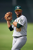 Oakland Athletics Ryan Howell (19) warms up before an instructional league game against the San Francisco Giants on October 12, 2015 at the Giants Baseball Complex in Scottsdale, Arizona.  (Mike Janes/Four Seam Images)