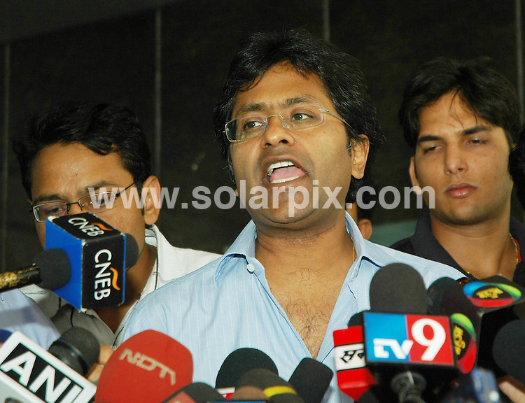 **ALL ROUND PICTURES FROM SOLARPIX.COM**.**WORLDWIDE SYNDICATION RIGHTS**.Lalit Modi, the man behind cricket's revolutionary Indian Premier League and vice-president of the Board of Control for Cricket in India (BCCI) shifted the cricket venue when Indian government refused to organise the matches in India.  In the pics IPL Cricket Chief Lalit Modi speaks to media after Parliament Election playing IPL Cricket match at BCCI, Churchgate in Mumbai, India. Friday 6 February 2009. ..This pic: Lalit Modi ..JOB REF: 9580 SJA        DATE: 06_02_2009.**MUST CREDIT SOLARPIX.COM OR DOUBLE FEE WILL BE CHARGED**.**MUST NOTIFY SOLARPIX OF ONLINE USAGE**.**CALL US ON: +34 952 811 768 or LOW RATE FROM UK 0844 617 7637**