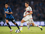 Jose Mauri of AC Milan (R) being followed by Pedro Miguel Gomes Delgado of FC Internazionale Milano (R) during the AC Milan vs FC Internacionale as part of the International Champions Cup 2015 at the looks onnggang Stadium on July 25, 2015 in Shenzhen, China.  Photo by Aitor Alcalde / Power Sport Images