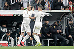 Real Madrid CF's Gareth Bale, Lucas Vazquez (R) and coach Santiago Solari  during the King's Cup semifinals match. February 27,2019. (ALTERPHOTOS/Alconada)