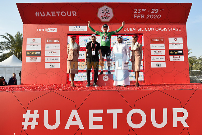 Pascal Ackermann (GER) Bora-Hansgrohe wins Stage 1 of the UAE Tour 2020 running 148km from The Pointe to Dubai Silicon Oasis, Dubai. 23rd February 2020.<br /> Picture: LaPresse/Fabio Ferrari   Cyclefile<br /> <br /> All photos usage must carry mandatory copyright credit (© Cyclefile   LaPresse/Fabio Ferrari)
