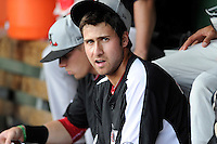 Third baseman Joey Gallo (30) of the Hickory Crawdads before in a game against the Greenville Drive on Friday, June 7, 2013, at Fluor Field at the West End in Greenville, South Carolina. Gallo is the No. 10 prospect of the Texas Rangers, according to Baseball America and was a first-round pick (39th overall) in the 2012 First-Year Player Draft. Greenville won the resumption of this May 22 suspended game, 17-8. (Tom Priddy/Four Seam Images)
