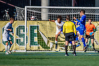 26 October 2019: University of Vermont Catamount Forward JoJo Moulton-Condiotti, a Freshman from Brooklyn, NY, defends his goal in second half action against the University of Massachusetts Lowell River Hawks at Virtue Field in Burlington, Vermont. The Catamounts rallied to defeat the River Hawks 2-1, propelling the Cats to the America East Division 1 conference playoffs. Mandatory Credit: Ed Wolfstein Photo *** RAW (NEF) Image File Available ***