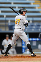 West Virginia Power catcher Reese McGuire #24 watches the pickoff throw to first during game one of a double header against the Asheville Tourists at McCormick Field on April 8, 2014 in Asheville, North Carolina. The Power defeated the Tourists 6-5. (Tony Farlow/Four Seam Images)