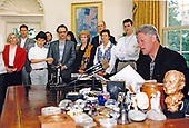 United States President Bill Clinton delivers his weekly radio address from the Oval Office of the White House in Washington, DC on June 3, 1995.  The President spoke about the conflict in Bosnia and United States policy in regard to it.<br /> Mandatory Credit: Sharon Farmer / White House via CNP